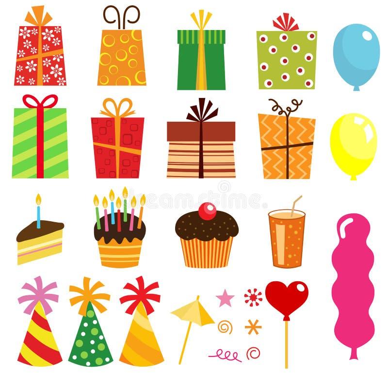 生日配件箱要素礼品其他 向量例证