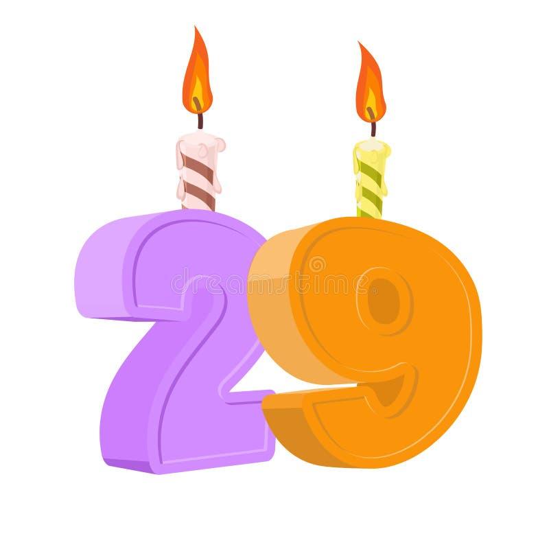 29年生日 与欢乐蜡烛的数字假日蛋糕的 向量例证