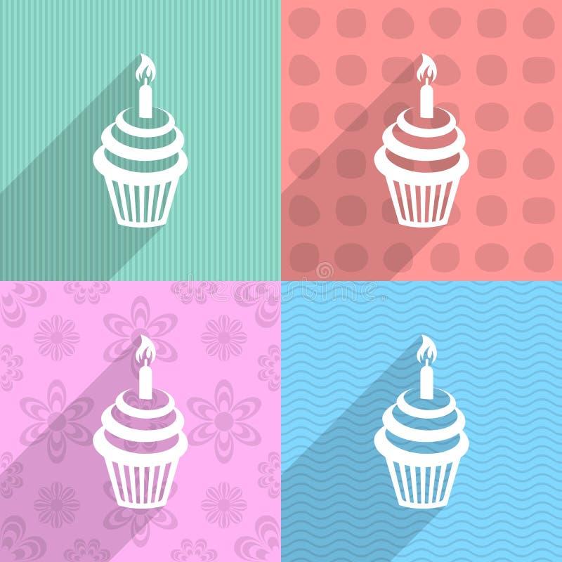 生日贺卡愉快杯形蛋糕的问候 库存例证