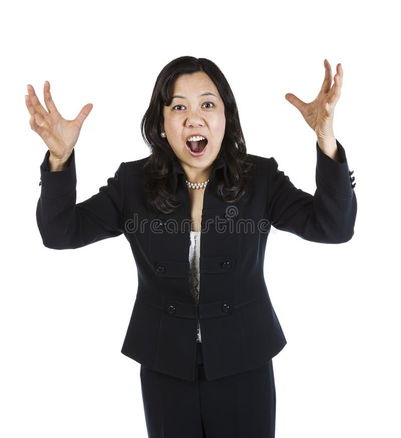 生气成熟亚裔妇女 免版税库存照片