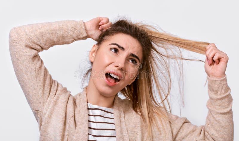 生气拉扯子线用被举的手的年轻女人尝试的梳子难驾驭的头发的接近的图象尖叫从痛苦和难受, 免版税库存图片
