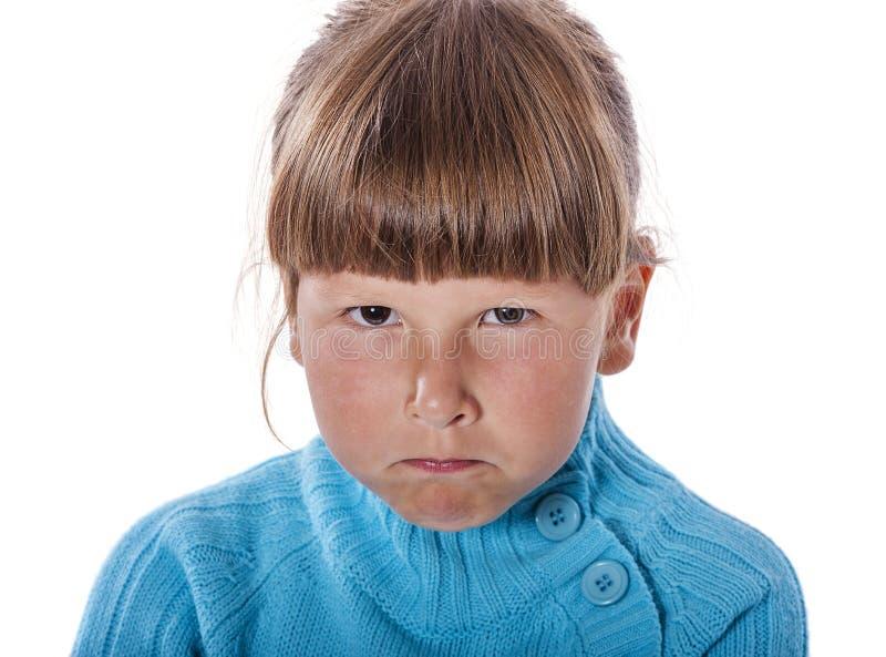 生气胡思乱想的女孩 免版税库存照片