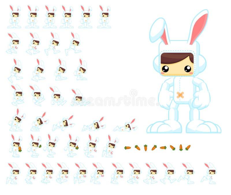 生气蓬勃的逗人喜爱的兔宝宝字符魍魉 向量例证