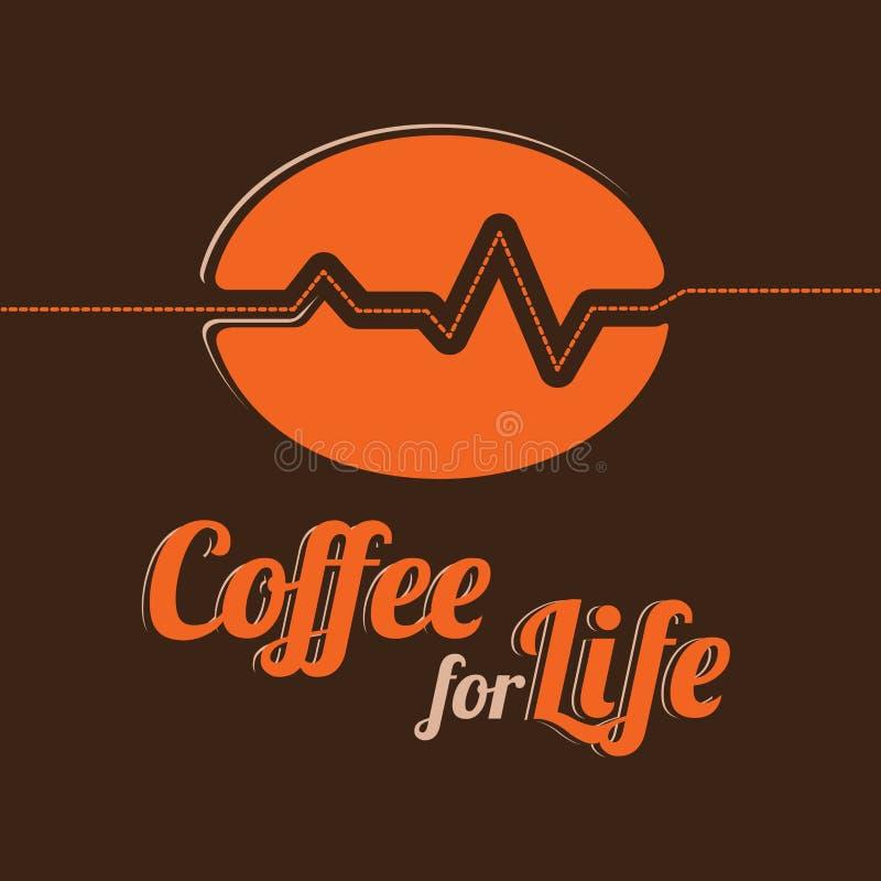 生活传染媒介象征的咖啡 风格化咖啡豆和一条线以心电图的形式 文本设计 库存例证