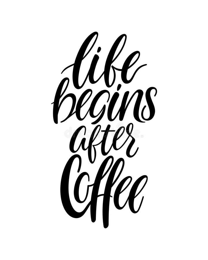 生活在咖啡以后开始 库存例证