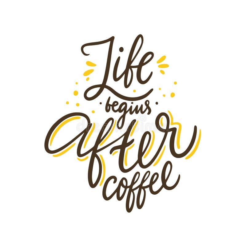生活在咖啡以后开始 在行情上写字的手拉的传染媒介 r 皇族释放例证