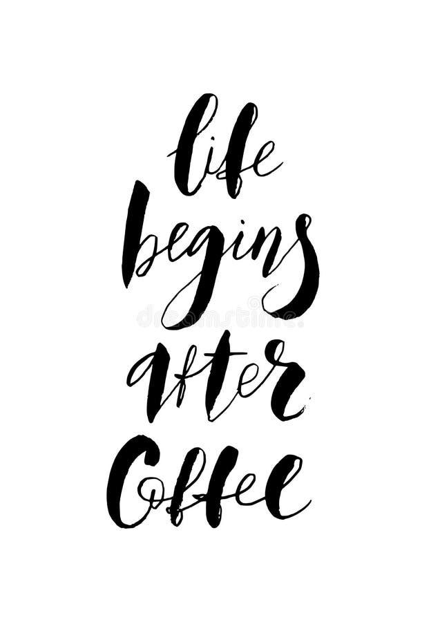 生活在咖啡文本以后开始 手字法 现代刷子书法 也corel凹道例证向量 向量例证