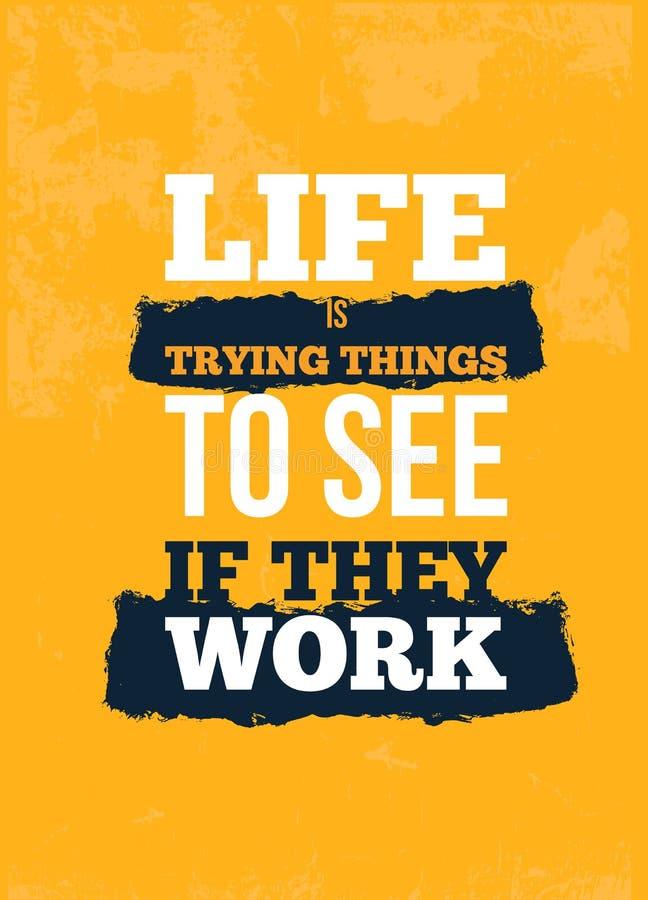 生活尝试事引述 在黄色背景的诱导墙壁艺术 激动人心的海报,成功概念 皇族释放例证