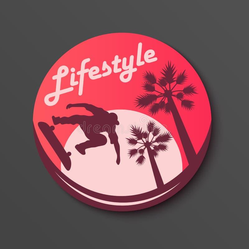 生活方式圈子贴纸 踩滑板的棕榈和太阳传染媒介例证 向量例证