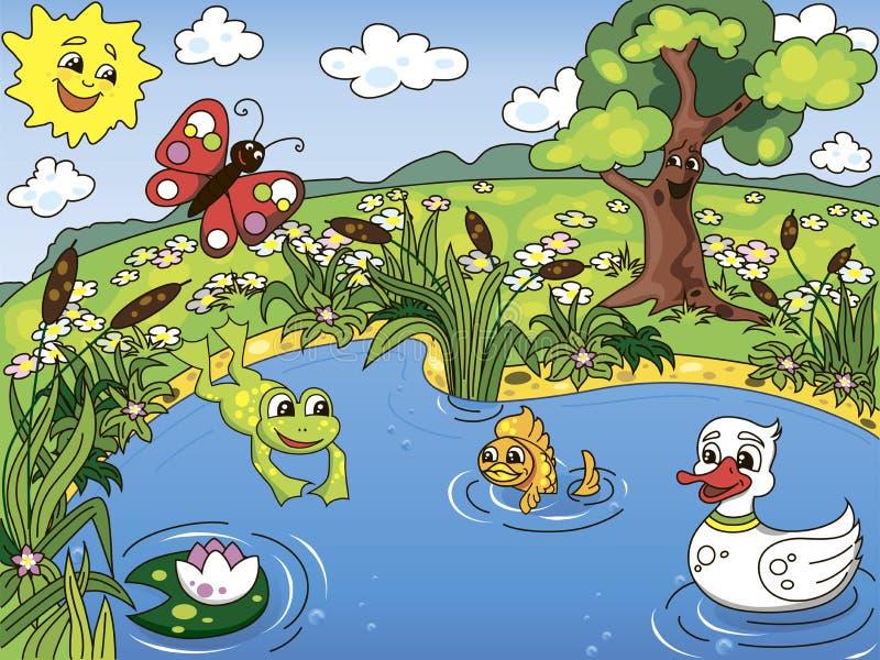 生活池塘 向量例证