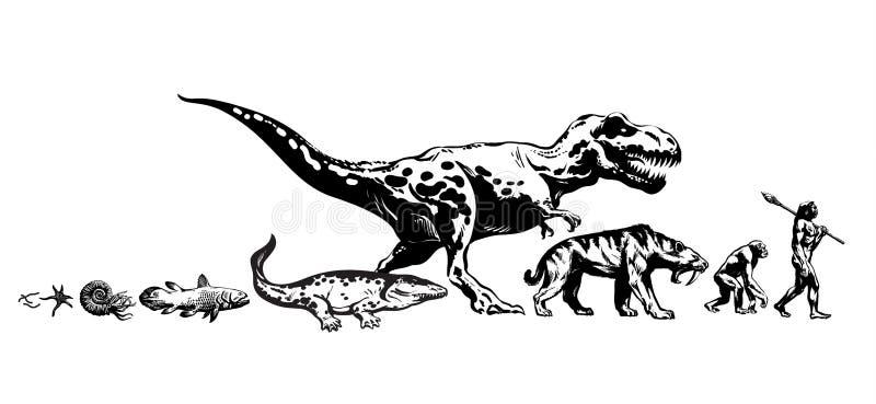 生活的演变地球上的 时间安排从原生动物到人 人的发展 手拉的被隔绝的剪影ivector 向量例证