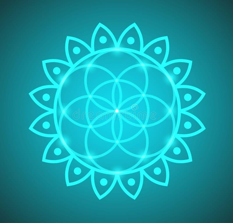 生活神圣的几何传染媒介花在莲花例证的 向量例证