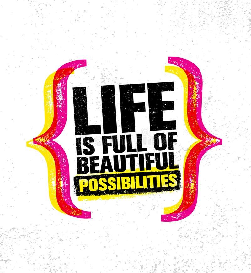 生活美好的可能性有很多 富启示性的创造性的刺激行情海报模板 传染媒介印刷术横幅 皇族释放例证