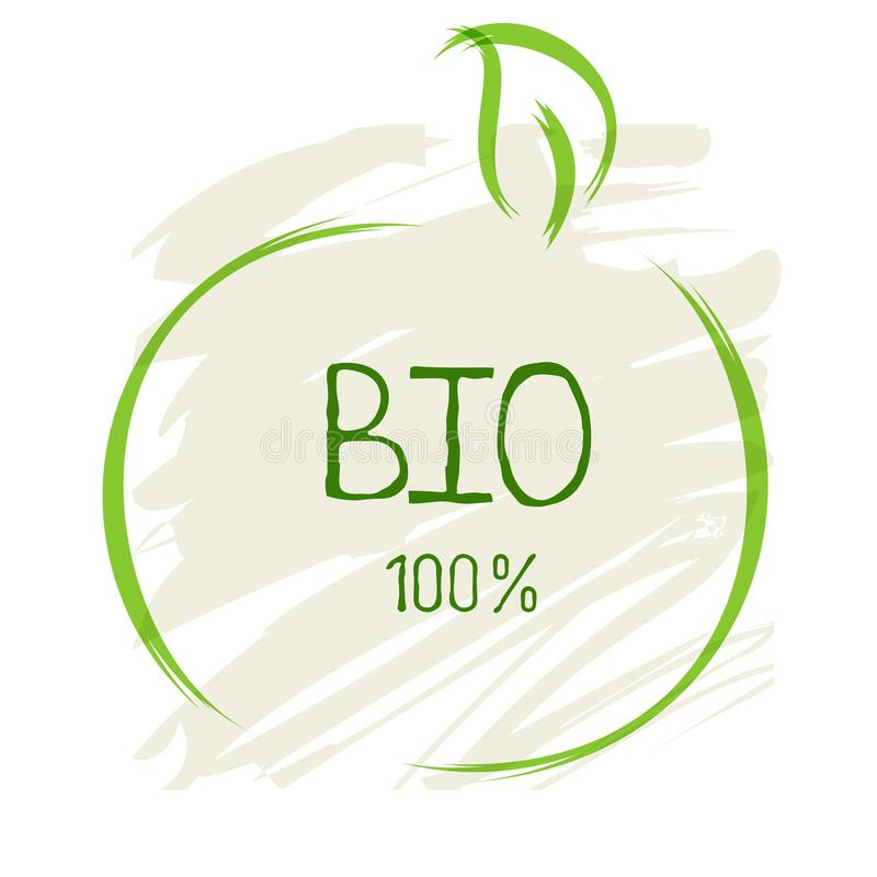生物健康有机食品标签和优质产品徽章 Eco, 100生物和自然产品象 咖啡馆的象征,包装 库存例证