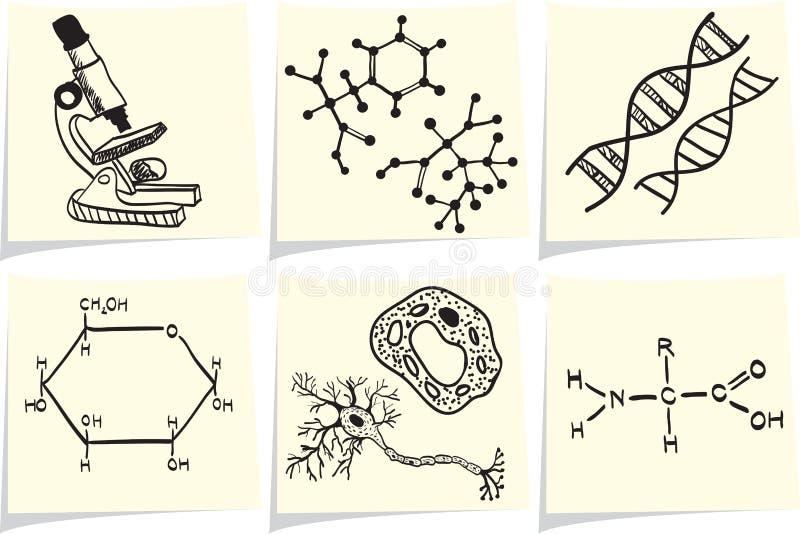 生物化学图标通知单停留黄色 向量例证