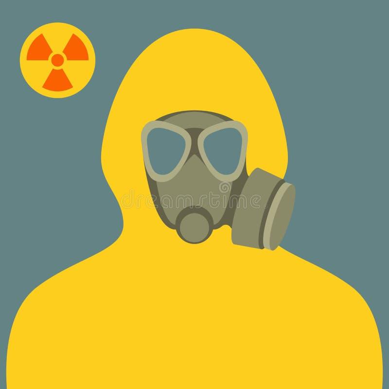 生物危害品衣服的人和平的防毒面具 皇族释放例证