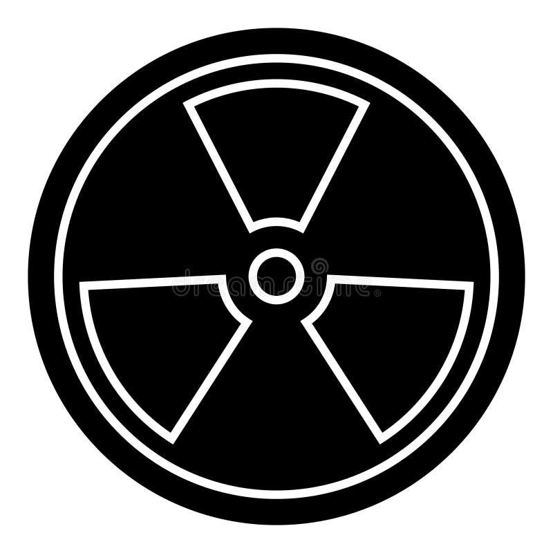 生物危害品-危险辐射象,传染媒介例证,在被隔绝的背景的黑标志 库存例证
