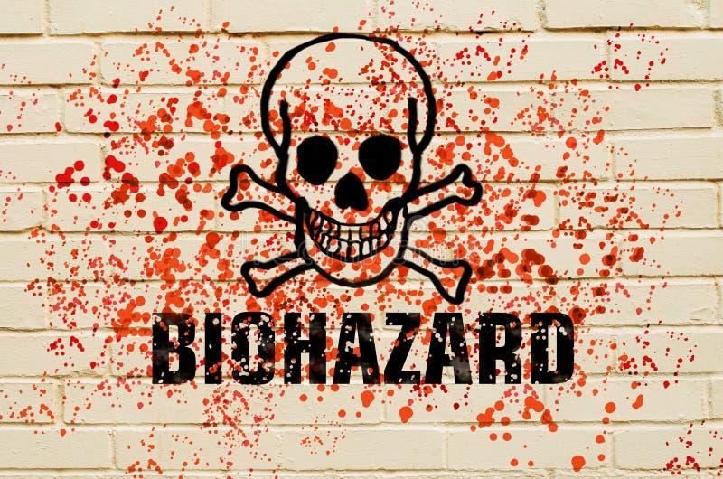 生物危险的头骨在墙壁上的有在墙壁上的红色毒性浪花的 向量例证