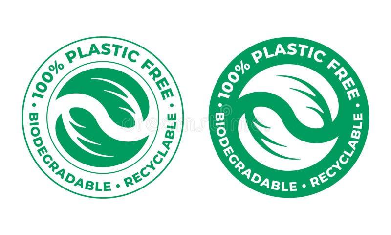 生物可分解,塑料自由可再循环的传染媒介象 100%生物可再循环的包裹绿色商标 向量例证