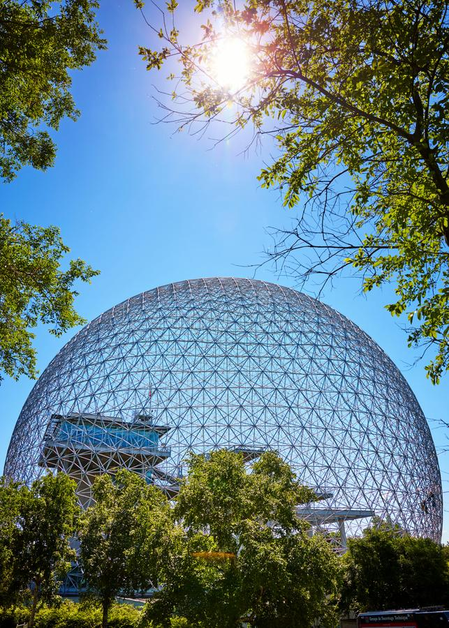 生物圈环境博物馆在Parc在圣海伦海岛上的吉恩德拉波在蒙特利尔,魁北克,加拿大 库存照片