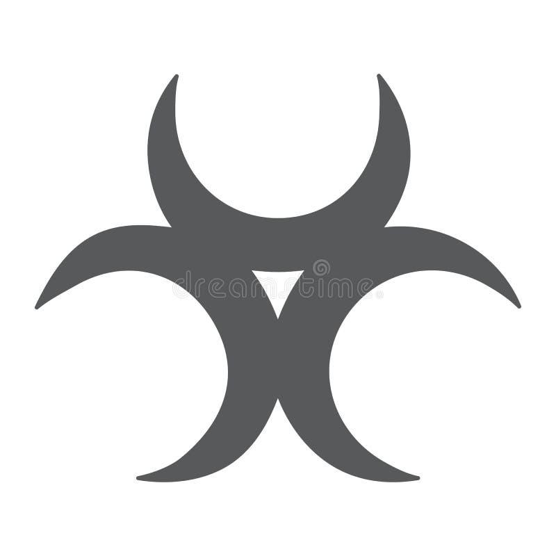 生物威胁纵的沟纹象、戒备和标志,生物危害品标志,向量图形,在白色背景的一个坚实样式 库存例证