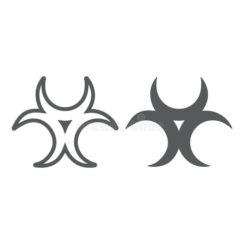 生物威胁线和纵的沟纹象、戒备和标志,生物危害品标志,向量图形,在白色的一个线性样式 皇族释放例证