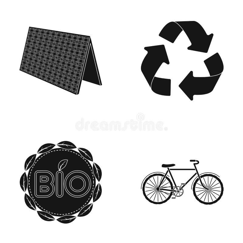 生物标签, eco自行车,太阳电池板,回收标志 在黑样式的生物和生态集合汇集象导航标志股票 向量例证