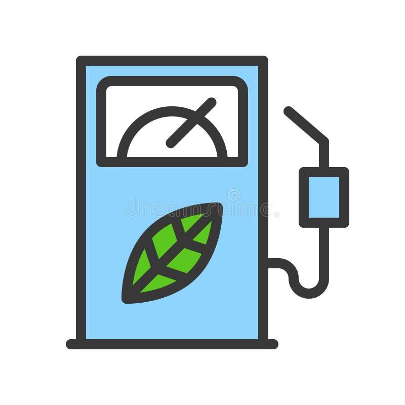 生物燃料分配器,清洁能源概念被填装概述平的ico 皇族释放例证
