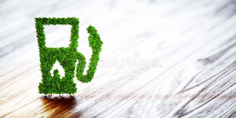 生物燃料在木背景的加油站 3d例证 库存例证