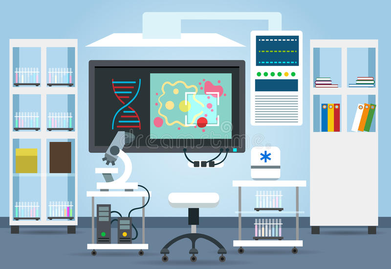 生物研究实验室内部 向量例证