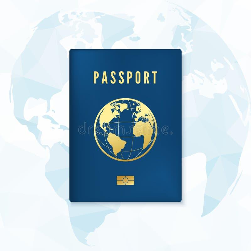 生物统计的蓝色护照盖子模板 与数字id的身分证与在背景的全球性地图 r 皇族释放例证