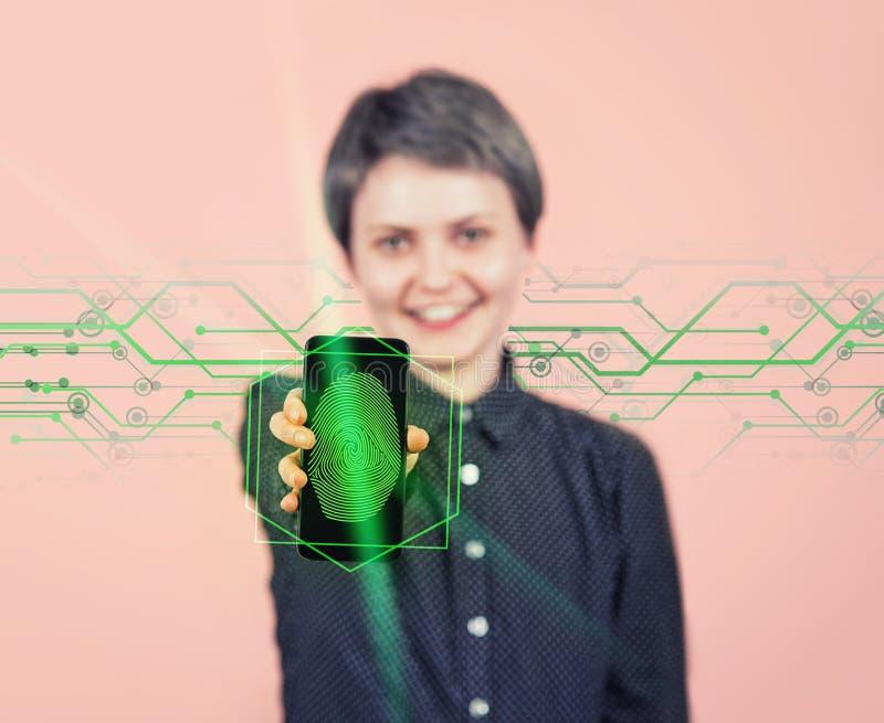 生物统计的身分认同,现代技术概念 未来安全和密码控制 库存照片