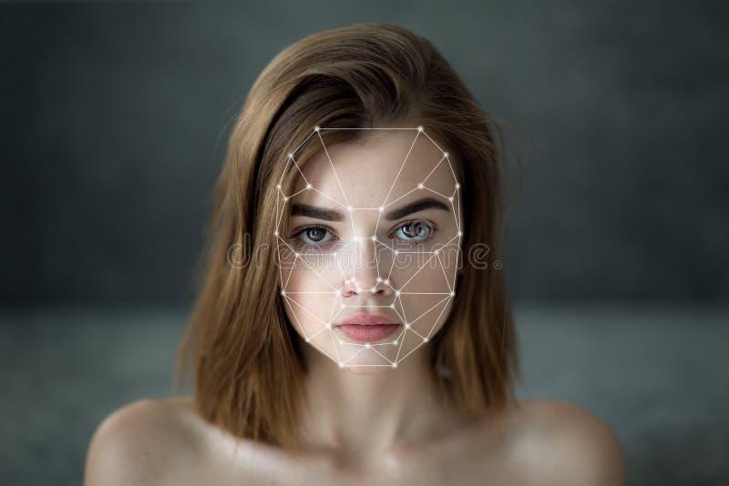 生物统计的面孔侦查 库存图片