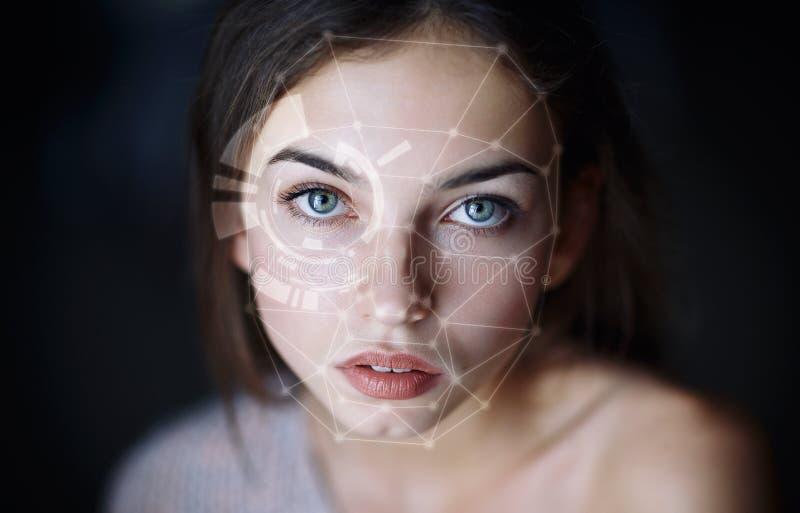 生物统计的面孔侦查 免版税库存图片