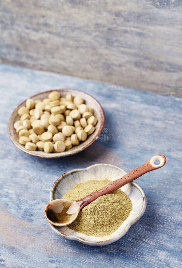 生物绿色大麦草屑粉末和片剂 一个健康饮食补充的概念 免版税库存图片