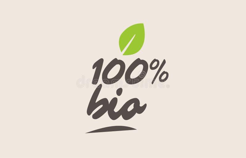 100%生物词或文本与绿色叶子 手写的在上写字的隋 库存例证
