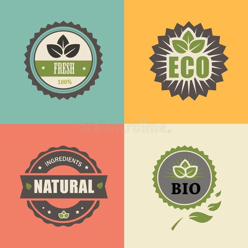 生物邮票;ECO,有机标签收藏 库存例证