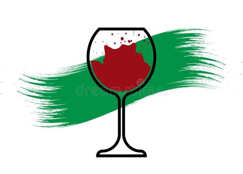 生物酒概念,有机红酒酒杯象,生物动态的耕种,葡萄酒杯商标,玻璃器皿象传染媒介隔绝了 皇族释放例证