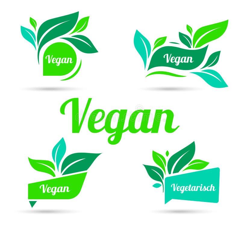 生物,生态、有机商标和象,标签,标记 标签、商标、徽章、贴纸或者象的传染媒介元素 库存例证