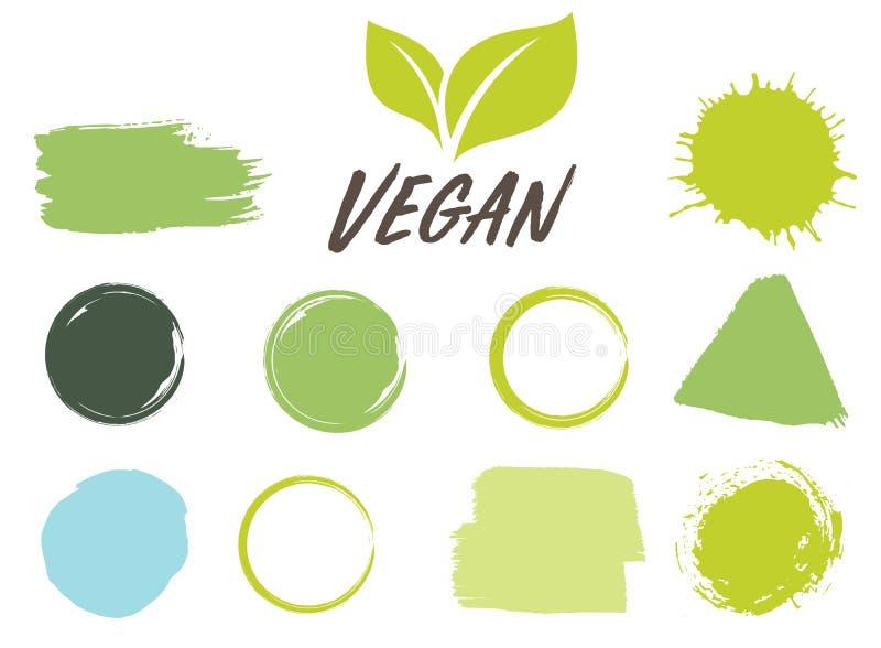 生物,生态、有机商标和象,标签,标记 手拉的生物健康食品徽章,套未加工,素食主义者,健康食品 皇族释放例证