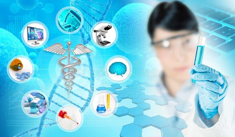 生物医学的研究概念 库存例证