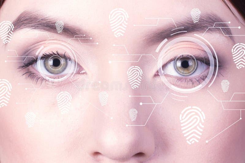 生物统计的安全视网膜扫描器 少妇指纹眼睛,印虚拟现实 库存图片