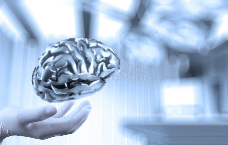 医生神经学家手展示金属脑子 免版税库存图片