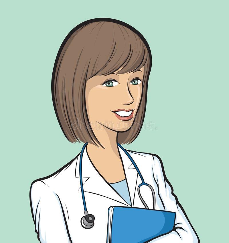 医生纸张微笑的妇女 库存例证