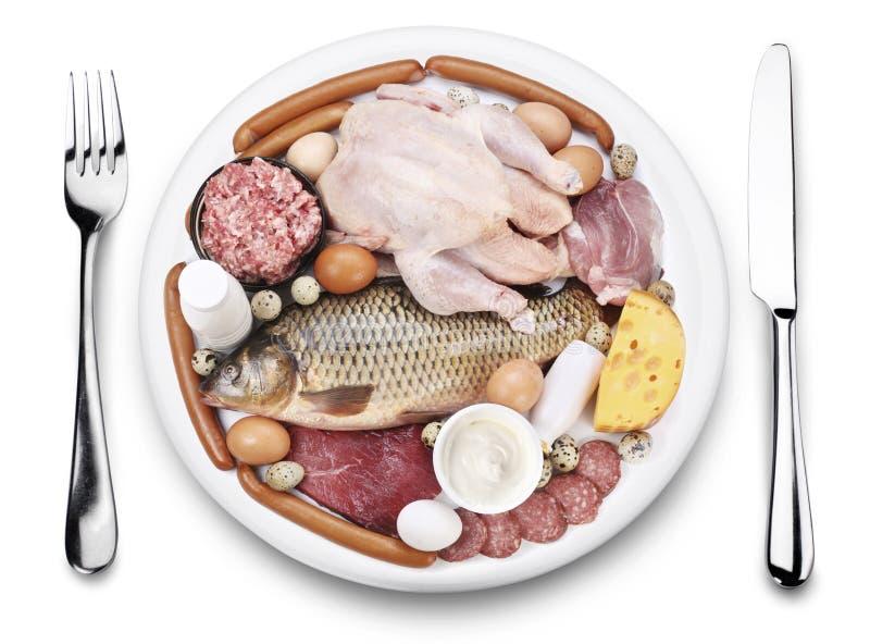 生肉和在牌照的奶制品。 库存图片