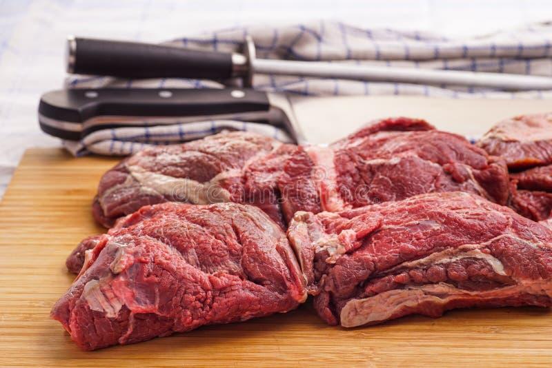 生肉,可口小牛肉,牛肉面颊 图库摄影