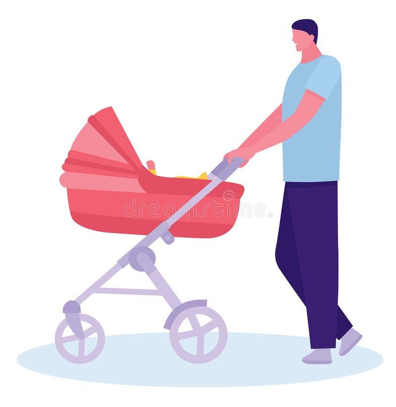生走与一辆婴儿推车和一个婴孩城市街道的 年轻无经验的父亲的概念 平的动画片 皇族释放例证