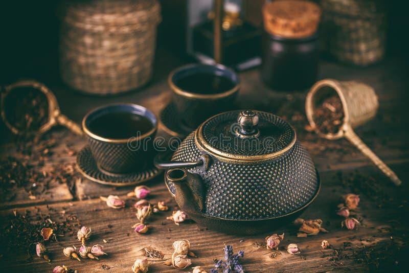 生铁茶壶静物画  免版税图库摄影