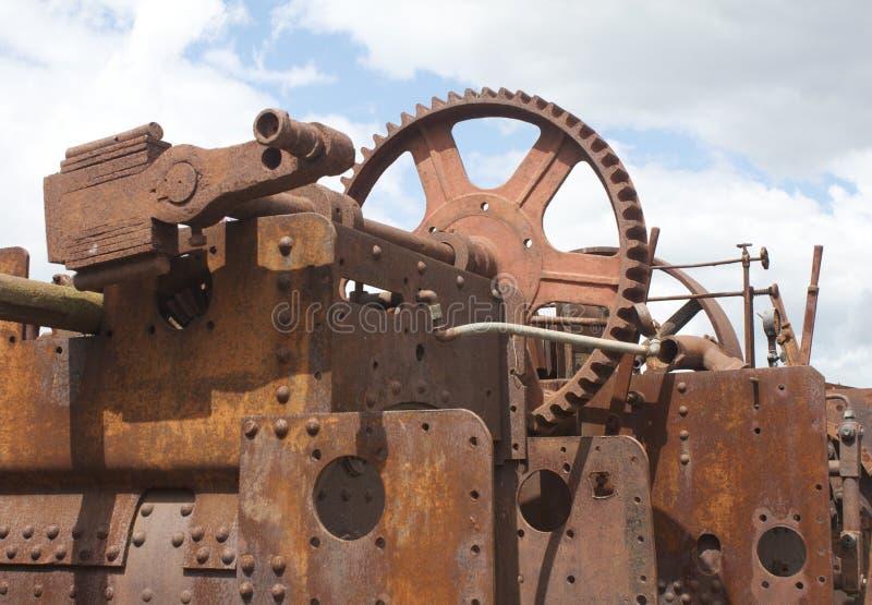 生锈嵌齿轮的杠杆 免版税库存照片