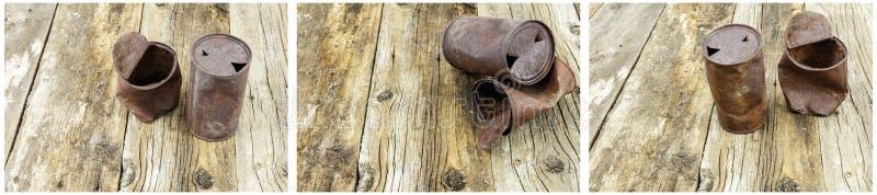 生锈的啤酒罐汤谷仓木头拼贴画 免版税库存照片